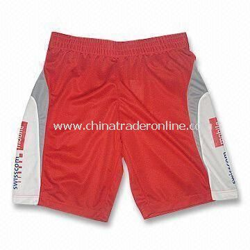 Mens Basketball Shorts with Bespoke Labels and Embroidery Logo at Side, Available in Red
