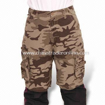Mens Camo Breathable Outdoor Pants, Two Side Pockets with Flap