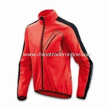 Red Cycling Jersey with Polyester Mesh Lining