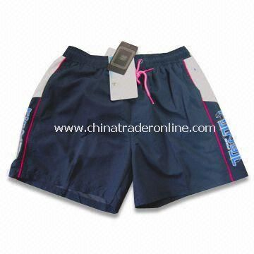 Swim Shorts, Made of 100% Polyester Twill Peach Skin, Available in Blue from China