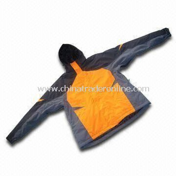 Waterproof Mens Skiwear with Detachable Hood and Polyester Taffeta Lining