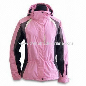 Waterproof Skiwear with Detachable Hood and Polyester Taffeta Lining