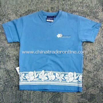 100% Cotton T-shirt with Printed Flowers for Children