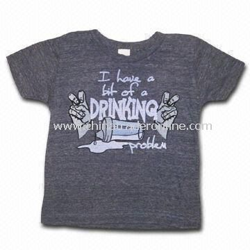 Black T-shirt for Children, Made of 100% Cotton, Customized Designs, Fabrics, and Logos are Welcome