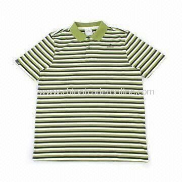 Childrens Polo T-shirt with Stripes, Made of 100% Cotton, Available in Various Colors and Sizes