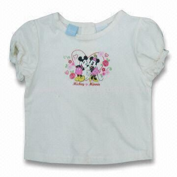 Childrens Round Neck T-shirt, Made of 100% Cotton, Customized Requirements are Accepted