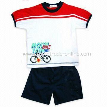 Childrens Suits with T-shirt and Pants, Made of 100% Cotton