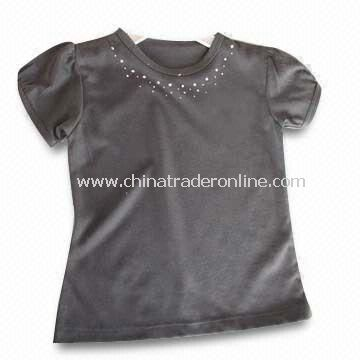 Childrens T-shirt, Made of Cotton, Available in Gray, Weighs 200gsm