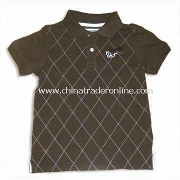 Childrens T-Shirt with 1 x 1 Rib Collar and Sleeve Bottom, Made of 100% Cotton
