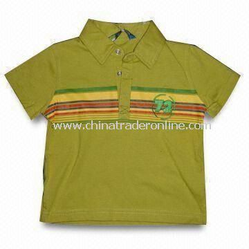 Childrens T-shirt with Collar and Half Sleeves, Customized Requirements are Accepted