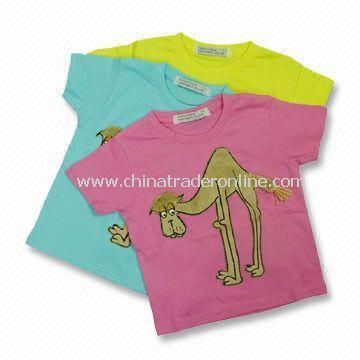 Childrens T-shirt with Front Flock Printing, Made of 100% Combed Cotton, Customized Logo is Welcome
