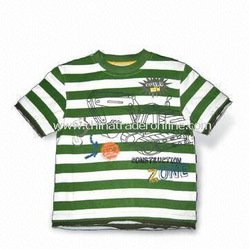 Childrens T-shirt with Print, Made of 100% Cotton, Available in Various Sizes, SGS Tested