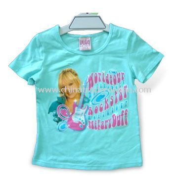 Childrens T-shirt with Print, Made of 100% Cotton, SGS Tested, Available in Various Sizes
