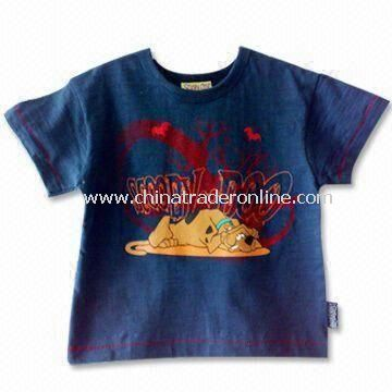 Childrens T-shirt with Round Neck and Short Sleeves, Made of 100% Cotton