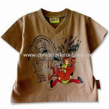 Childrens T-shirt with V-neck, Available in Brown, Made of 65% Polyester/35% Cotton