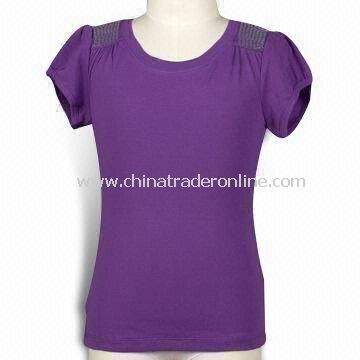 Girls Rib T-shirt with Sequin Shoulder, Soft Hand Feel, Available in Various Colors
