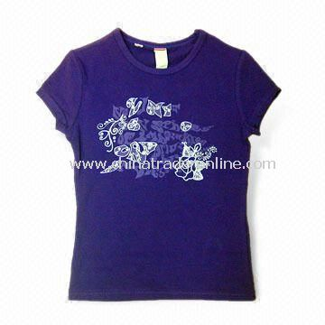 Kids T-shirt in Various Colors, Made of 95% Cotton and 5% Spandex, Various Colors are Available