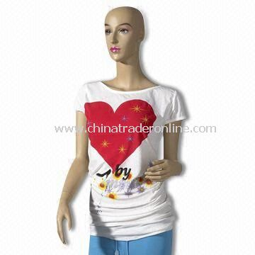 100% Combed Cotton Womens Short-sleeve T-shirt with Rhinestone on Front, Comfortable to Wear