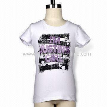 Girls Short Sleeves T-shirt with Glitter, Elastane Rib Neck, Available in Various Colors