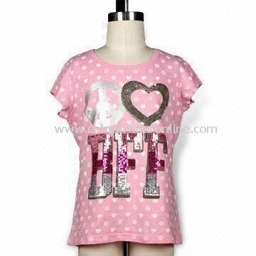 Girls Short Sleeves T-shirt with Yardage Print and Sequins, Made of Cotton
