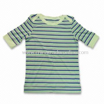 Ladys Short Sleeves T-shirt, Made of 65% Bamboo, 30% Cotton and 5% Spandex