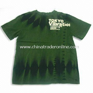 Mens Short Sleeves T-shirt with Printing, Made of 100% Cotton