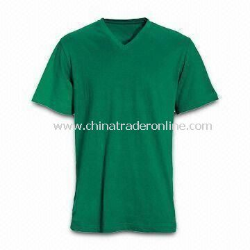 Mens Short Sleeves T-shirt with V-neck, Customized Logos Welcomed