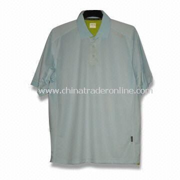 Short-sleeved Mens Golf T-shirt, Made of 100% Cotton Super Soft Pique Fabric