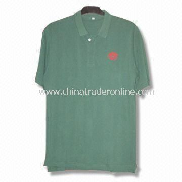 Short-sleeved Mens Golf T-shirt with Cut and Sewn Decoration
