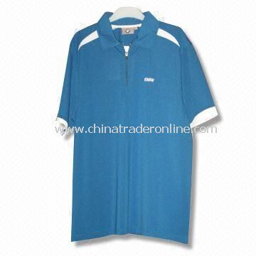 Short-sleeved Mens Golf T-shirt with Functional Fabric in Dry Fit, Made of 100% Cotton