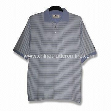 Short-sleeved Mens Golf T-shirt with Sewn Decoration, Made of 100% Polyester