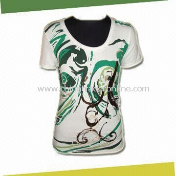Womens Short Sleeve T-shirt, Made of 95% Cotton and 5% Elathane in 180g/sm