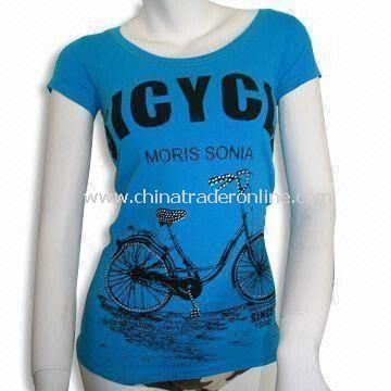 Womens Short-sleeve T-shirt, Printed Bike on Front, Available in Blue