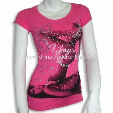Womens Short-sleeve T-shirt with Cap Sleeves, Available in Various Designs, Sizes and Colors