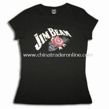 100% Cotton Jersey Ladies T-shirt with Cap Sleeves and Screen Print from China