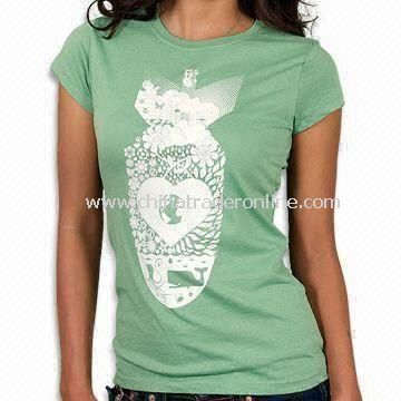 100% Cotton Womens Knitted T-shirt with Printing or Embroidery Logo, Available in Various Colors