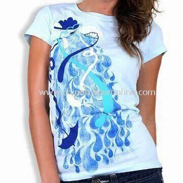 100% Cotton Womens Knitted T-shirt with Printing or Embroidery Logo, Various Styles are Available