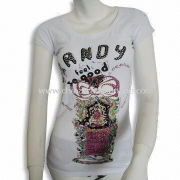 Cotton and Spandex Womens T-shirt with Cap Sleeves, Pigment Print and Rhinestone