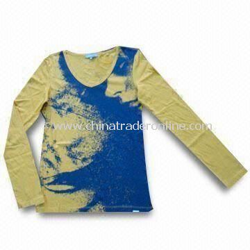 Fashionable Womens T-shirt, Made of Cotton, Can Put Various Prints on Chest