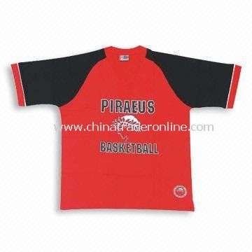Jersey T-shirt with Printed Logos, Made of 100% Cotton from China