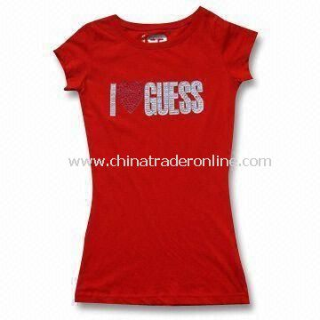 Ladies T-shirt in Various Prints on Chest, Made of 100% Cotton Spandex Jersey