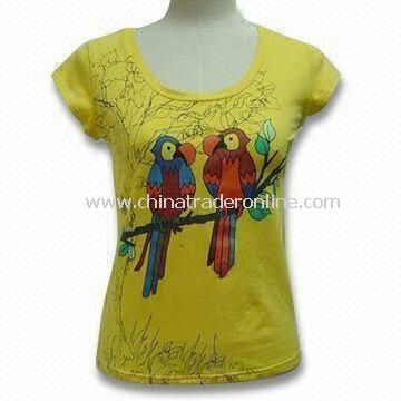 Nap Jersey Fabric Knitted T-shirt, Made of 95% Cotton and 5% Spandex with Birds Print from China