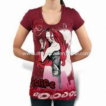 Printed Womens T-shirt, Various Designs and Sizes are Available from China