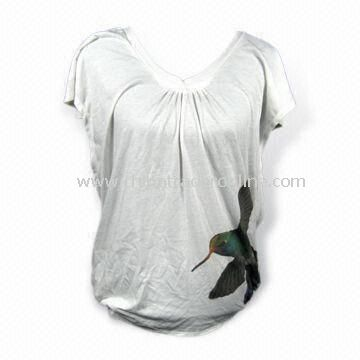 Short Sleeves Womens T-shirt with Flower Sublimation Print, Fashionable, Made of 100% Cotton