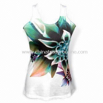 Short Sleeves Womens T-shirt with Sublimation Print, Super Soft, Made of Polyester and Cotton