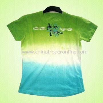 Tie-dyed Womens T-shirt Decorated with Pigment Print