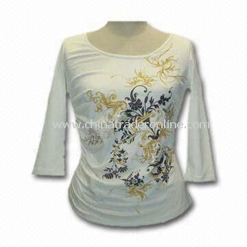 Womens Apparel/T-shirt with Black Offset Printing, Customized Sizes and Colors are Accepted