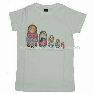 Womens Cotton T-shirt with Printed Logo Designs on Front