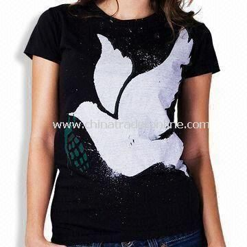 Womens Knitted T-shirt with Printing or Embroidery Logo, Made of 100% Cotton from China