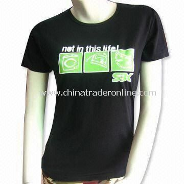 Womens Knitted T-shirt with Water Printing, Customized Designs and Logos are Accepted from China